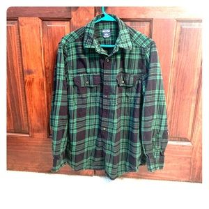 Faded Flory Green and Black Flannel
